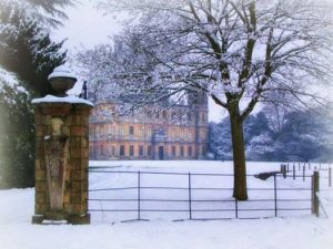 Downton Abbey's Highclere Castle after fresh snow.