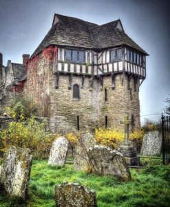 Stokesay Castle, Shropshire, England. It was built in the late 13th century by L