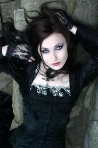 Gothic beauty, Dark hair and shocking blue eyes