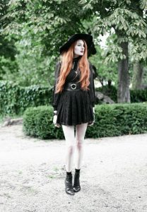Olivia Emily wears Asos Sheer Shirt, Black Milk Black Lace Skater Dress, Killstar Velvet Witch B ...
