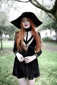 Olivia Emily wears Dark Thorn Clothing Victoria Dress, Asos Floppy Wide Brim Hat, Rogue and Wolf ...