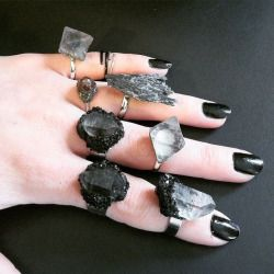 jewelry ring crystal Witch darkness goth gothic crystals rings wiccan wicca black nail polish nu ...