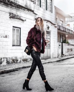 street style, our style, leather pants, fur coat, black booties, our look, fashion bloggers, col ...
