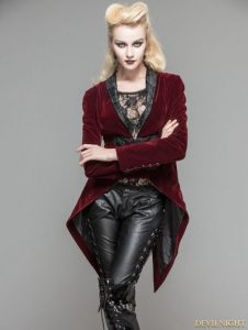 Wine Red Velvet Gothic Swallow Tail Jacket for Women