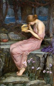 "John William Waterhouse (1849-1917), ""Psyche Opening the Golden Box,"" 1903. Oil on canvas. Priva ..."