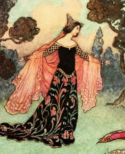 """'Beauty and the Beast' (detail) from """"The Fairy Book"""" (1913) illustrated by Warwick Goble"""