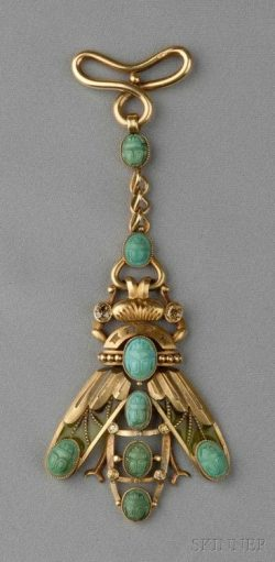 Art nouveau 18kt gold, plique-a-jour enamel, turquoise, and colored diamond fob, designed as a s ...