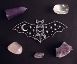 A bat with the night sky on her wings  Iron on patch Digitally embroidered Metallic thread for t ...