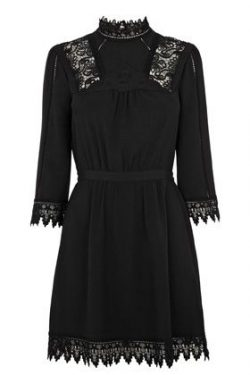 Dresses | Black VICTORIANA LACE DRESS | Warehouse