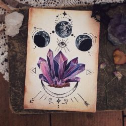 Made to order ~ Custom Crystal Painting ~Original Artwork ~ Crystal ~ Lines Moon Moonphase Tatto ...
