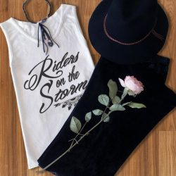 Riders on the Storm tee with black velvet flares