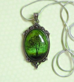 Emerald Bewitched — Wearable Art Cameo Silver Necklace-tree necklace.–christmas gift ...