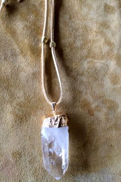 – Healing raw quartz crystal point – Gold plated cap and bail – Please note ev ...