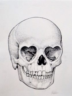 heart eyes skull drawing
