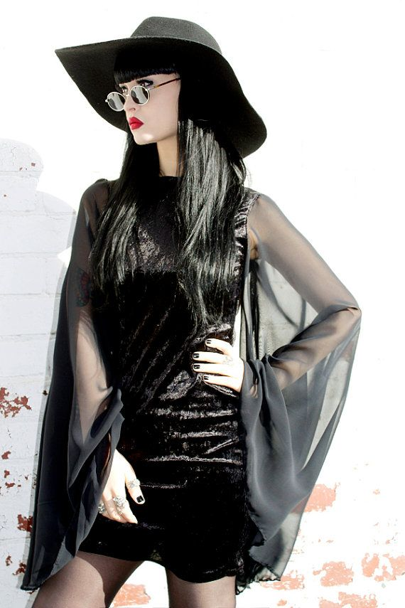 ADELE PSYCH 'Bewitch' Glam Goth Post- Punk style Black Velvet Mini Dress with Chiffo ...