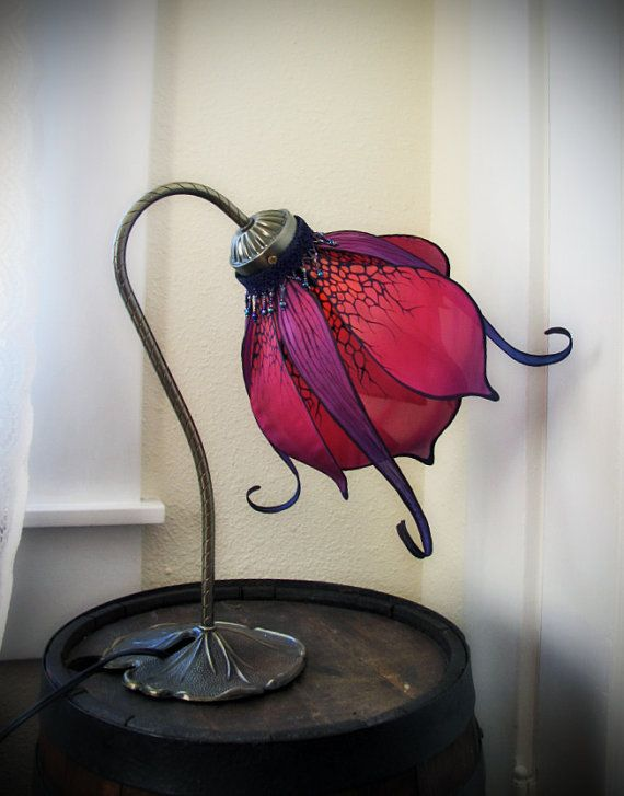Art Nouveau Silk Lily Lamp by littlewingfaerieart on Etsy, $175.00 Going on my bedside table