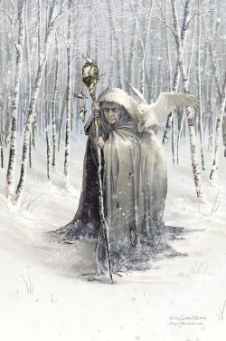 Beira, Queen of Winter, a Scottish deity. She freezes the ground with her staff and chases away  ...