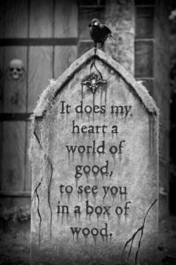 It does my heart a world of good, to see you in a box of wood