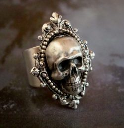 Reserved, Skull Ring, Human, Gothic, Metal Bonded NOT Glued, QUALITY RING, Sterling Silver Plate ...