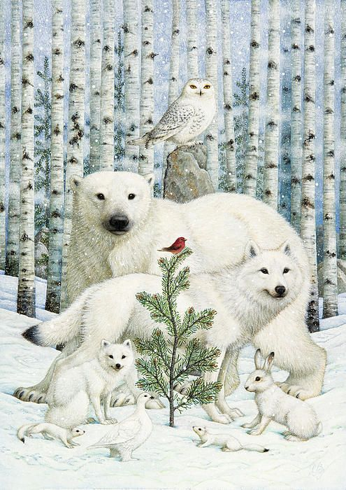 White Animals Red Bird Art Print by Lynn Bywaters