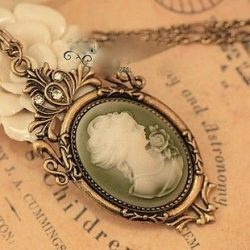 MELO YUMIs SHOP CAMEO RETRO VINTAGE VICTORIAN LADY BEADS PENDANT NECKLACE