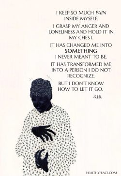 Quote on borderline: I keep so much pain inside myself. I grasp my anger and loneliness and hold ...