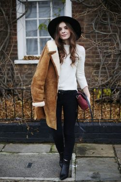 Trending now: shearling collar coats. Pair this cozy outer layer with simple layers and fall boots.